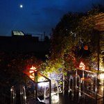 the roof top terrace at night