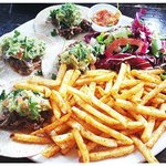 Chocolate Chicken tacos with spicy fries to share