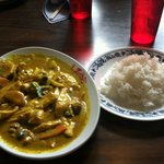 yellow curry chicken with jasmine rice