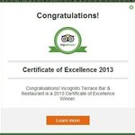 2012 and 2013 Certificate of excellence from Tripadvisor