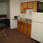 Kitchenette with Full Size Refrigerator, Microwave, Coffee Pot, Full Sink, Cabinets and TV (View