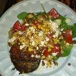 Blackened Tuna with Veg Risotto Cake, Corn Salsa, Salad, Walnuts, Smokey Vinaigrette