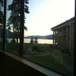 View from the restaurant, looking past the hotel rooms and out to the lake.