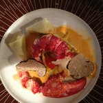 Lobster with truffles and ravioli