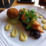 Salmon and violet potatoes
