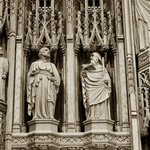 Intricate wood carvings grace the high altar.