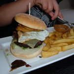 Now that is what you call a burger and chips!