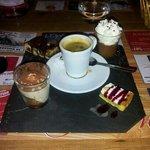 the café gourmand desert (espresso coffee)
