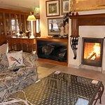 log fire in lounge area