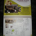 Crowne Plaza directional board showing layout of hotel