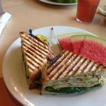 Chicken panini with watermelon