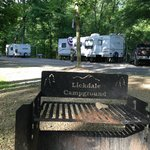 Old campground name on firepit