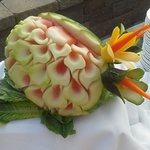 Melon carving at the luau