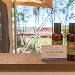 Shower with gorgeous coastal views of Goombaragin Eco Retreat at Pender Bay's coastline.