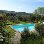 The pool with Tuscan hill views