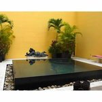 Zen pool indoors with open ceiling