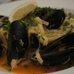 Cornish crab & mussel linguine, chorizo, sun dried tomatoes,  garlic & fresh herb butter, rocket