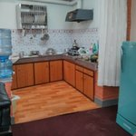 Kitchen with drinking water facility, fridge, gas and kitchen utilities