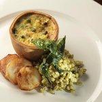 Spring Vegetable Tart with Pearl Barley Risotto, Wild Garlic and Jerusalem Artichoke