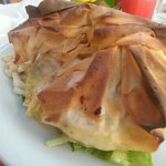 Goats cheese in filo pastry.