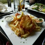 Fish and chips, caeser salad with chicken