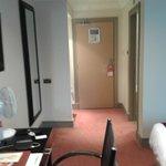 Looking towards the door, bathroom on right