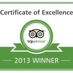 TripAdvisor Certificate of Excellence 2011/2012/2013