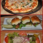 Seafood pizza, BLT sliders, and gorgonzola salad!!
