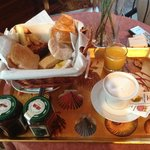 Delicious breakfast served in room.