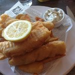Homemade fish fingers and chips, delicious.