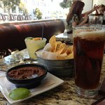 A perfect margarita, salsa & chips!