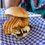 truck stop burger with cole slaw and waffle fries