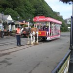 The tram coming along the seafront