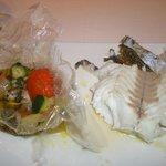lubina con verduras en fata