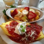 Fiesta Omelet with fruit on the side - yummy and filling!