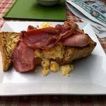 scambled egg and bacon on toast - superb