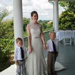 Bride and Ring Bearers on the porch