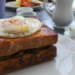 Croque Madame. Pork ws replaced with mix exotic mushrooms. Delish.