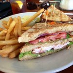 Grilled chicken and guacamole sandwich