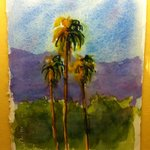 One of the water color paintings in the room