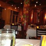Oranges highlight the restaurant decor