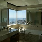bathroom view of Puget Sound from our corner suite