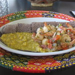 Seafood dish and Injera