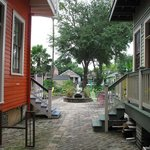 View to the back courtyard, between the two B&B homes