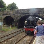 The Settle to Carlisle Steam Train arriving at Long Preston