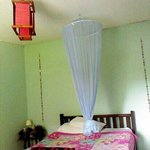 Double bed with mosquito net. Fan room but aircon room available.