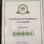 Thanks for the certificate tripadvisor!!!