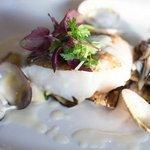 Pan-fried codfish, vongole and white wine sauce