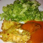 Fisch mit Tomatensoße an Salat
