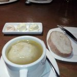 Matzo Ball Soup. Bread with olive butter and salmon cream cheese.